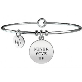Bracciale Kidult life Phylosophy acciaio Never give up