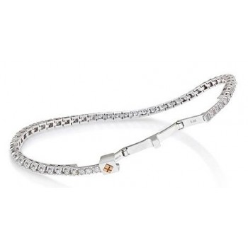 Bracciale tennis Crieri donna Imperdibile Oro Bianco 18 kt Diamanti 1,55ct