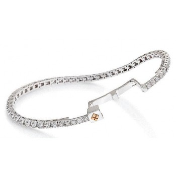 Bracciale tennis Crieri donna Imperdibile Oro Bianco 18 kt Diamanti 3,90ct